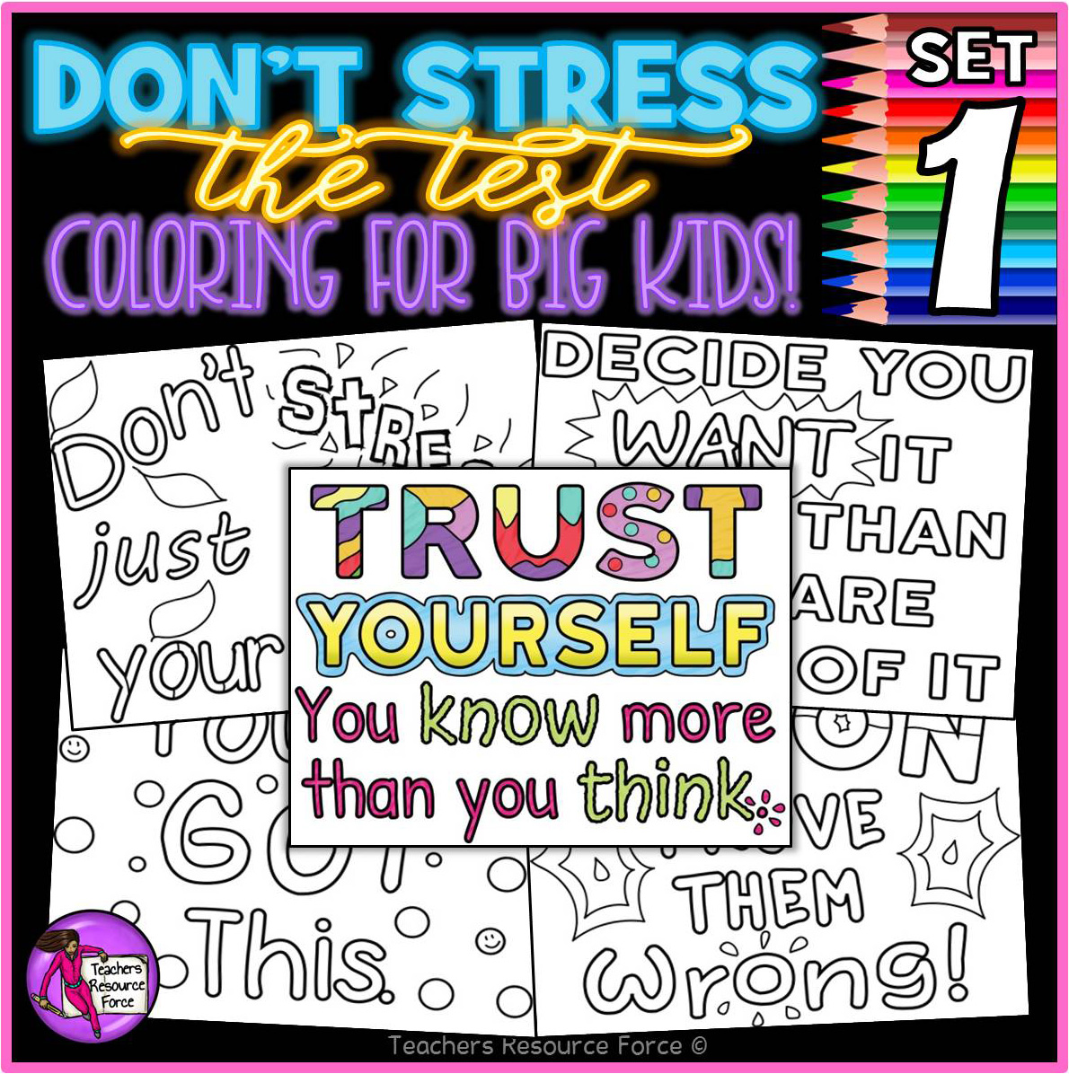 Growth Mindset Colouring Pages Posters Don T Stress The Test 1 Testing Motivation Shop